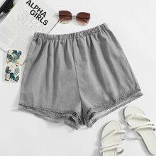Eyelet Lace Hem Shorts