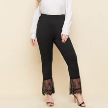 Plus Contrast Eyelash Lace Solid Pants