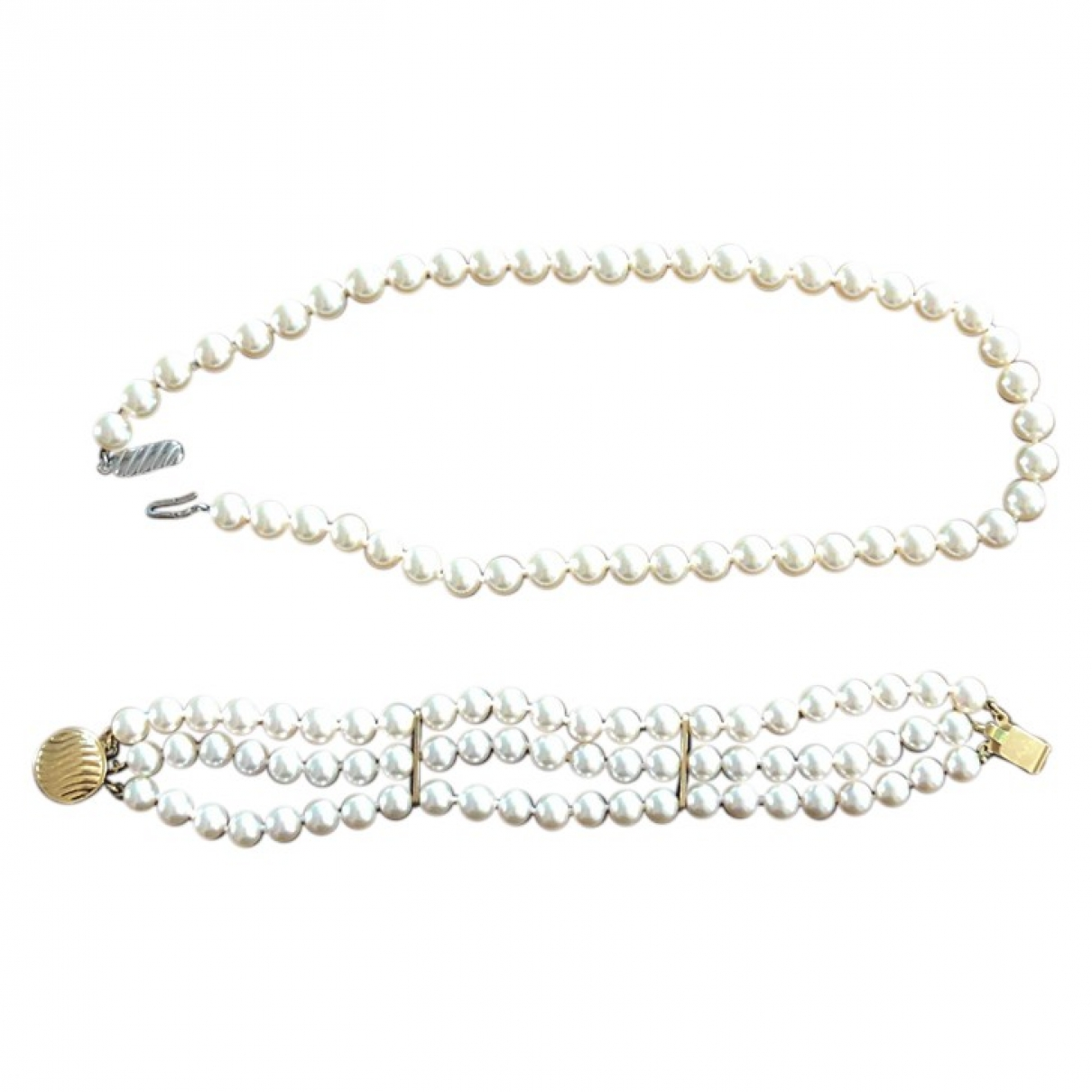 Non Signé / Unsigned \N Beige Pearls Jewellery set for Women \N