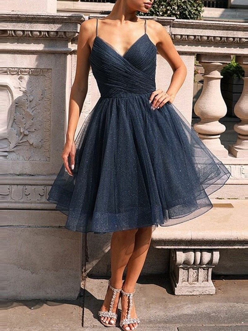 Ericdress Spaghetti Straps Knee-Length Pleats Sleeveless Homecoming Dress