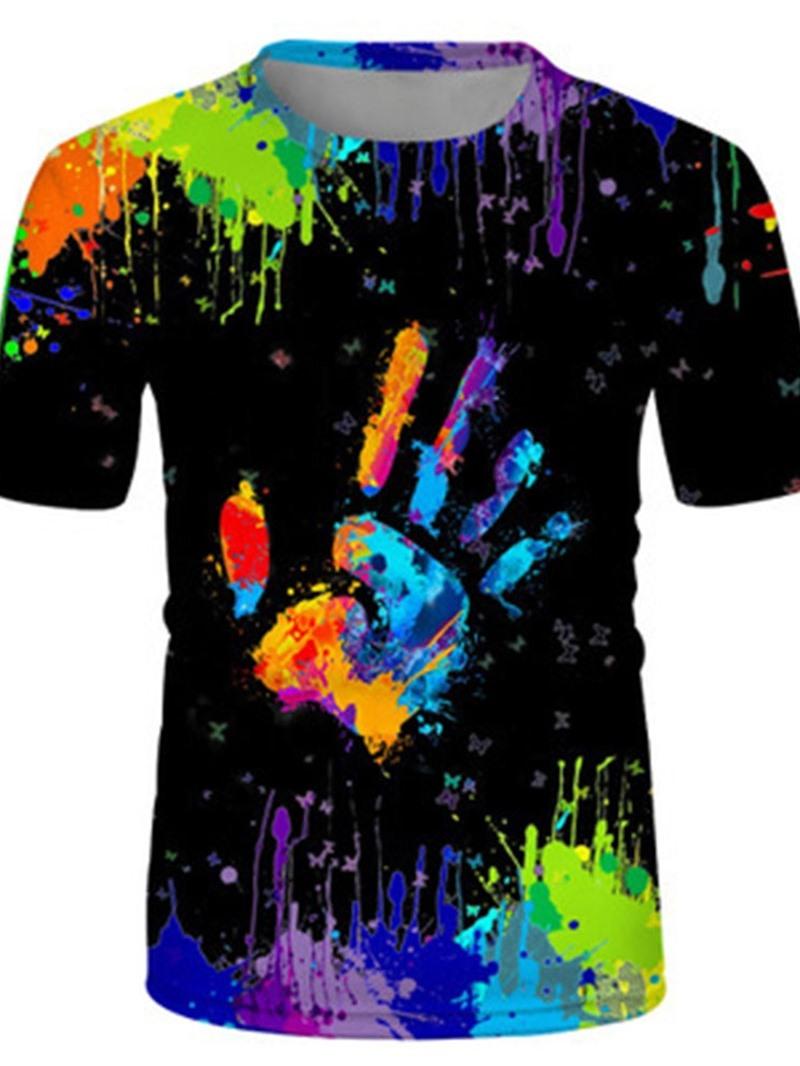 Ericdress Paint Splatters Round Neck Short Sleeve Pullover T-shirt