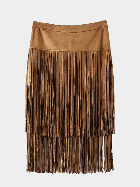 Yoins Tiered Fringed Suedette Skirt in Khaki