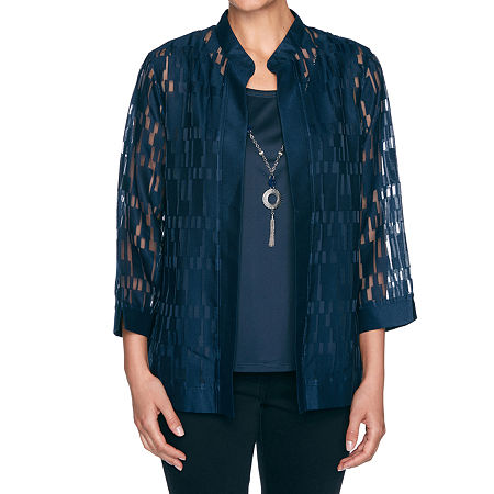 Alfred Dunner Wisteria Lane Womens 3/4 Sleeve Layered Top, Petite Small , Blue