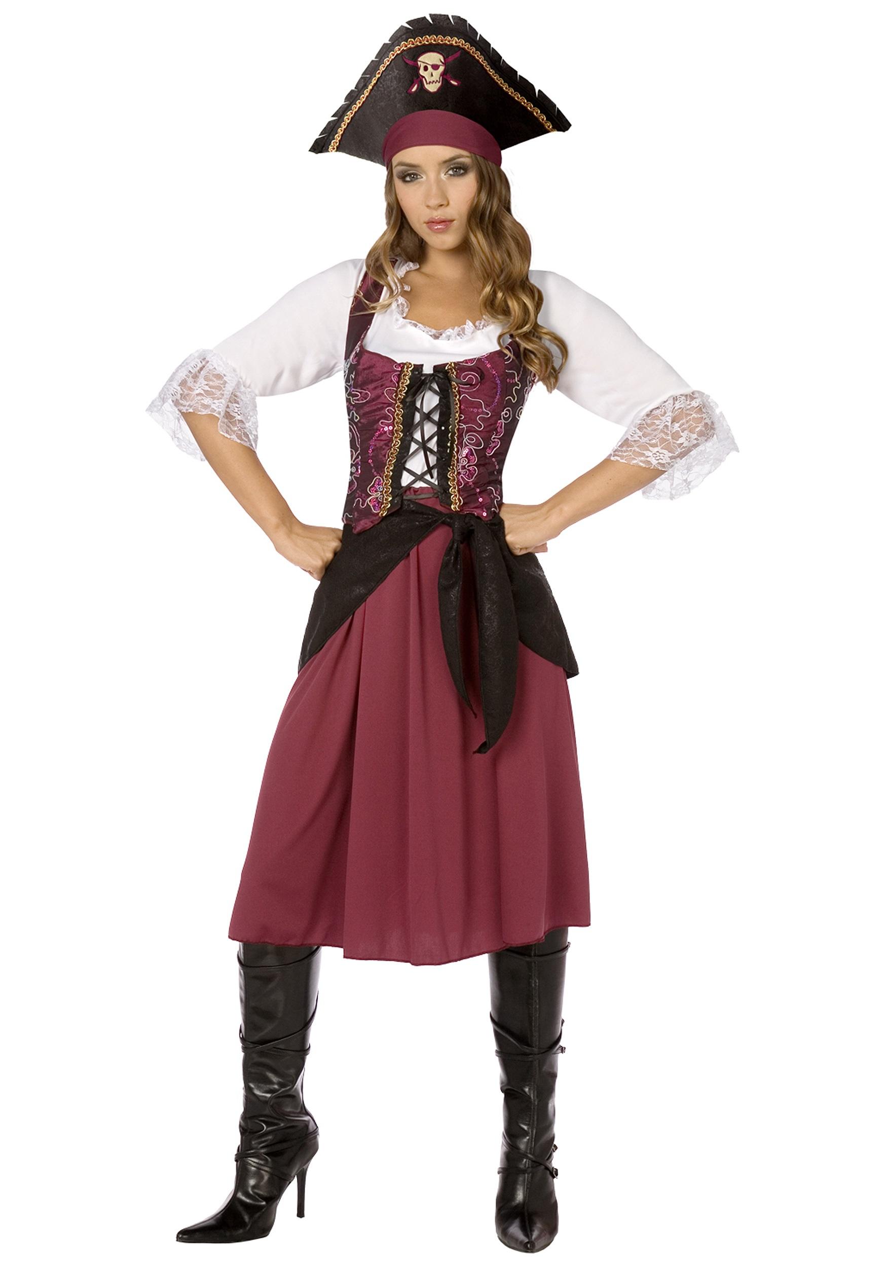 Burgundy Pirate Wench Costume