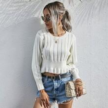 Crop Pullover mit Rueschenbesatz und rundem Kragen