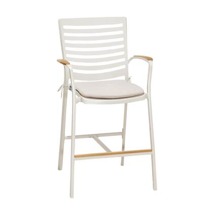 LCPLBAWH Portals Outdoor Patio Aluminum Barstool in Light Matte Sand with Natural Teak Wood