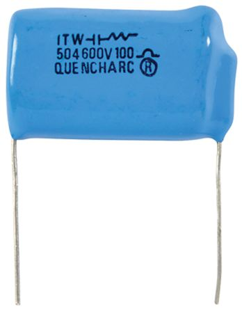 Cornell-Dubilier RC Capacitor 500nF 100Ω Tolerance ±20% 250 V ac, 600 V dc 1-way Through Hole Q Series
