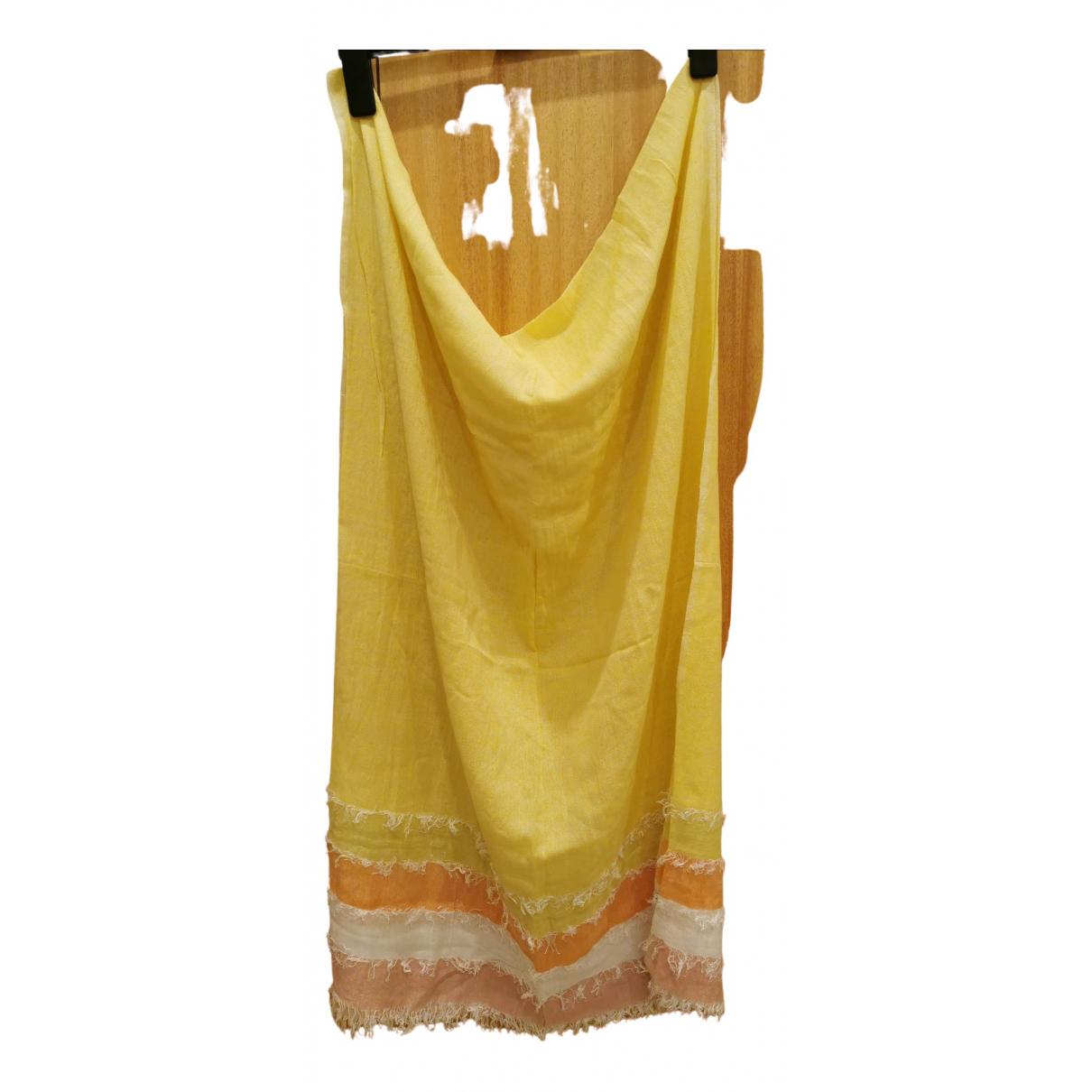 Adolfo Dominguez - Foulard   pour femme en coton - jaune