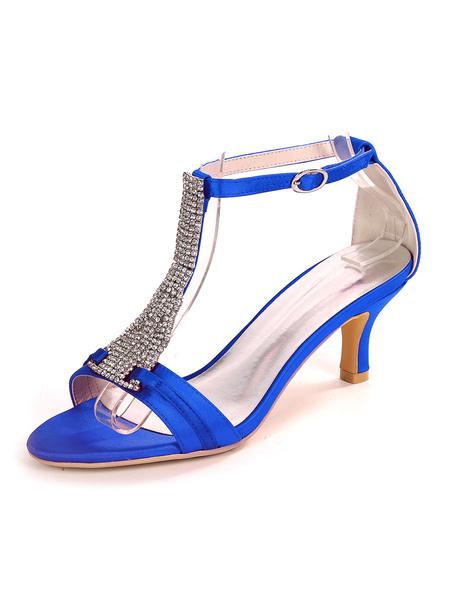 Milanoo Ivory Wedding Shoes Satin Open Toe Rhinestones Kitten Heel Bridal Shoes