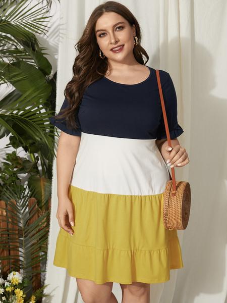YOINS Plus Size Round Neck Patchwork Short Sleeves Dress