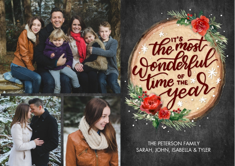 Christmas Photo Cards 5x7 Cards, Standard Cardstock 85lb, Card & Stationery -Christmas Floral Wood Plaque by Tumbalina