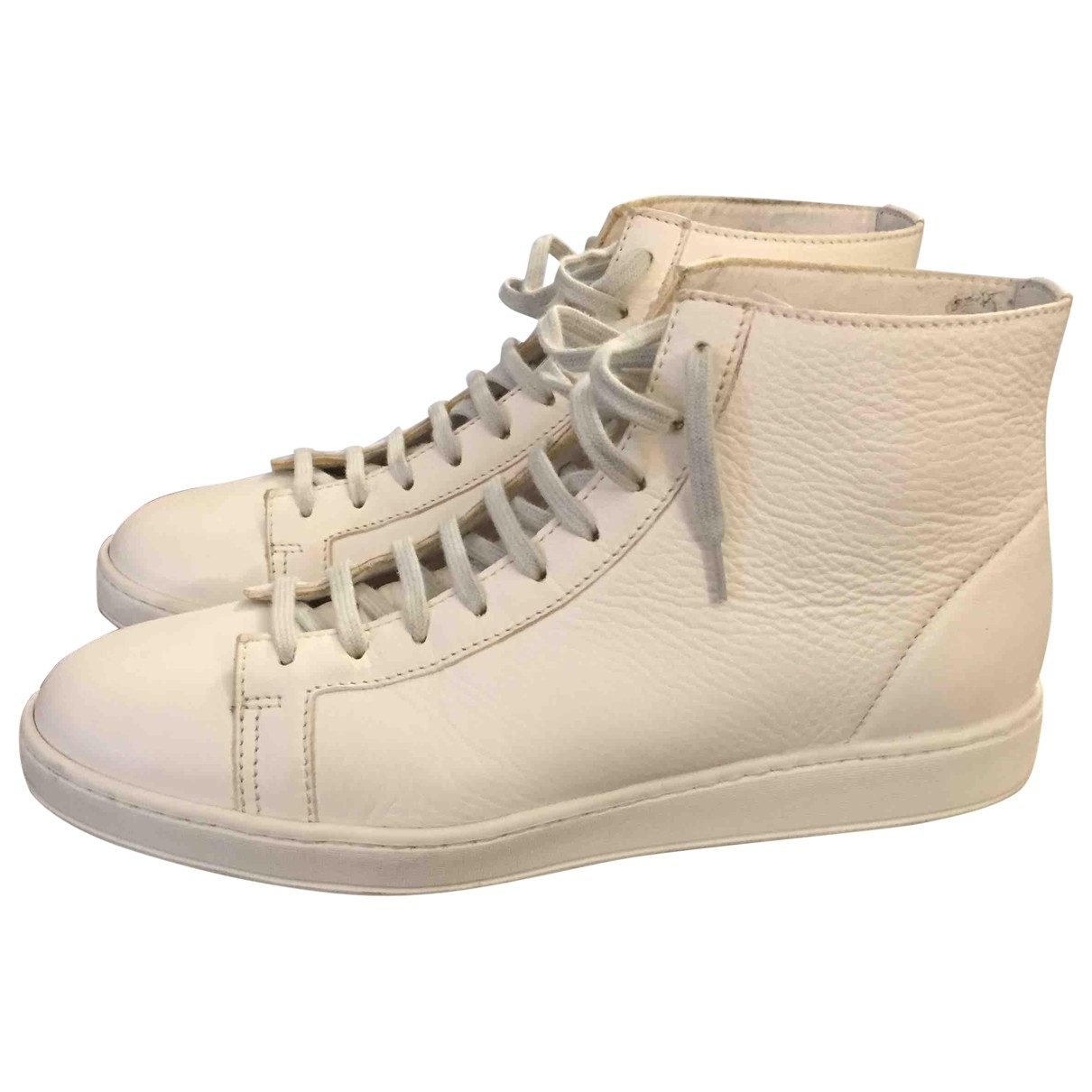 Santoni \N White Leather Trainers for Men 42 EU