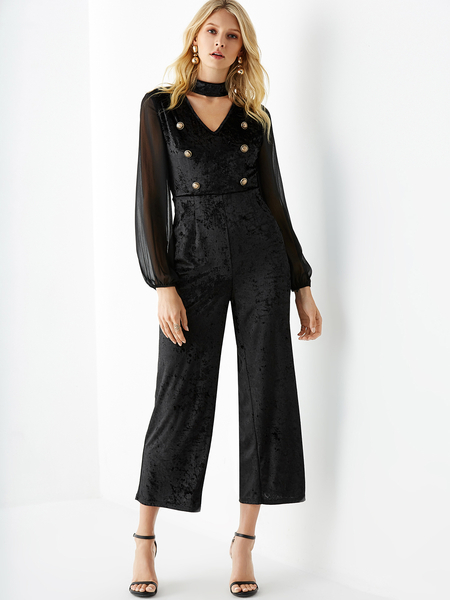 YOINS Black Double Breasted Long Sleeves Jumpsuit