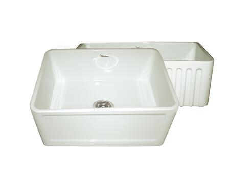 WHFLCON2418-BISCUIT Reversible series fireclay sink with Concave front apron one side and fluted front apron on