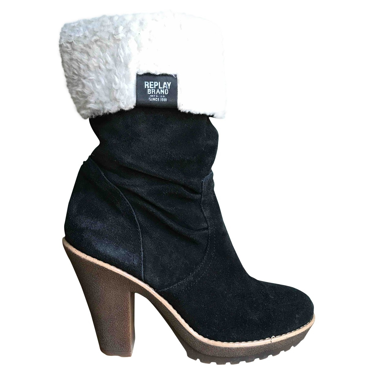 Replay \N Stiefel in  Schwarz Veloursleder