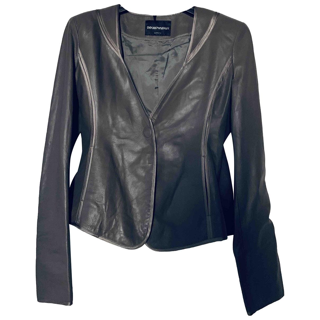 Emporio Armani - Veste   pour femme en cuir - gris