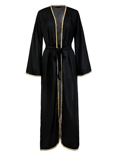 Milanoo Maxi vestidos de manga larga de color caqui Maxi poliester vestido largo