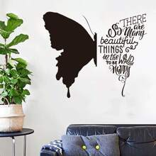 Contrast Letter Butterfly Print Wall Sticker