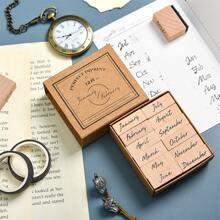 12 piezas sello de madera con estampado de letra