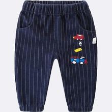 Baby Boy Cartoon Car Print Striped Pants