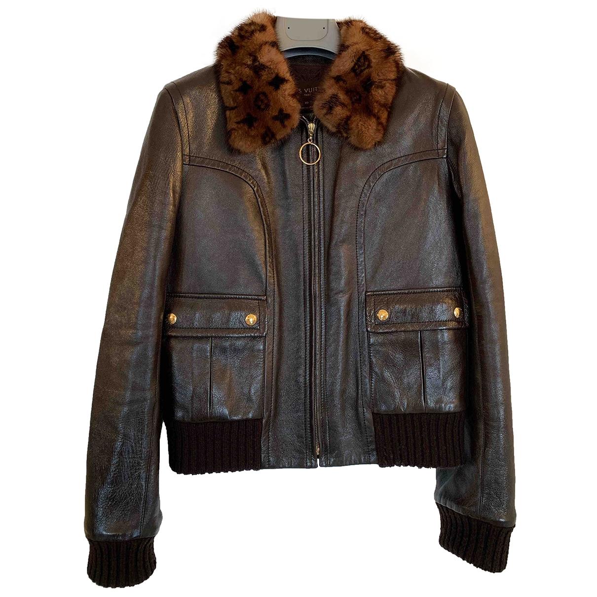 Louis Vuitton - Blouson   pour femme en cuir - marron