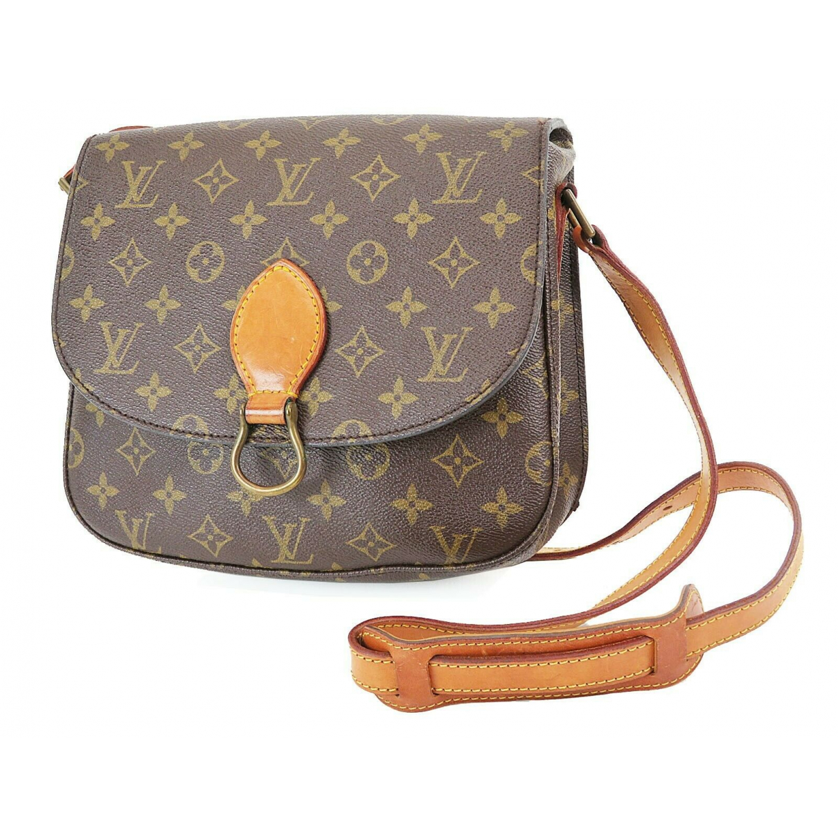 Louis Vuitton - Sac a main Saint Cloud pour femme en cuir - marron