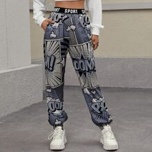 Letter Tape Waist Pop Art Print Pants