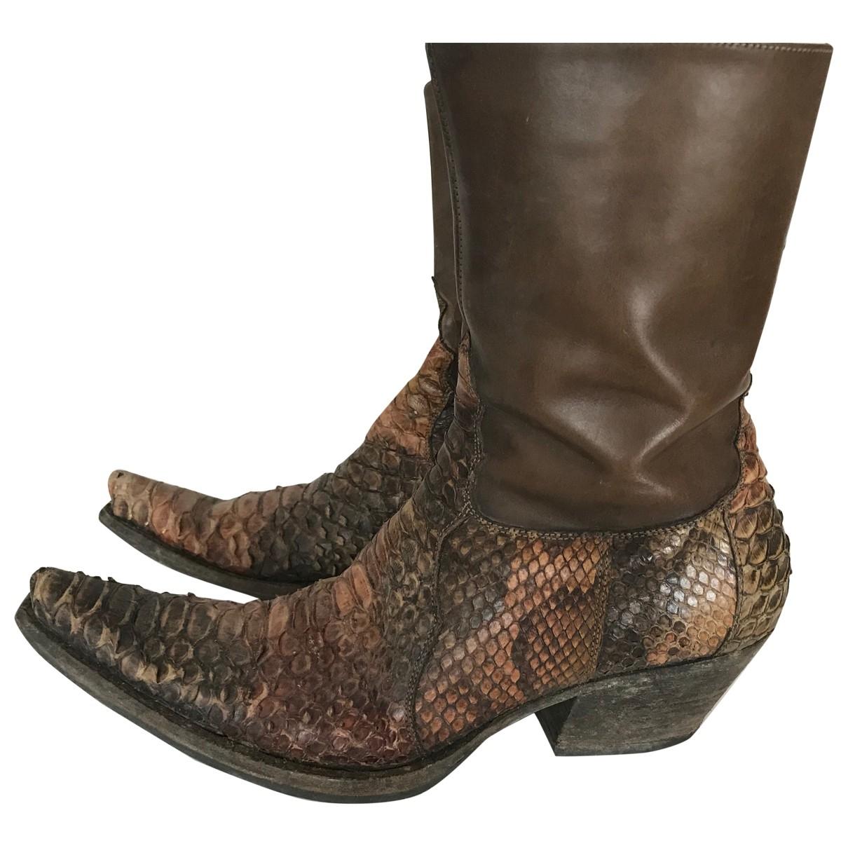 Sartore - Boots   pour femme en python - camel