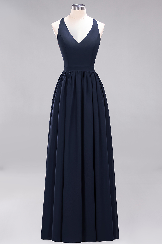 BMbridal Affordable Chiffon V-Neck Sleeveless Lace Bridesmaid Dress Online