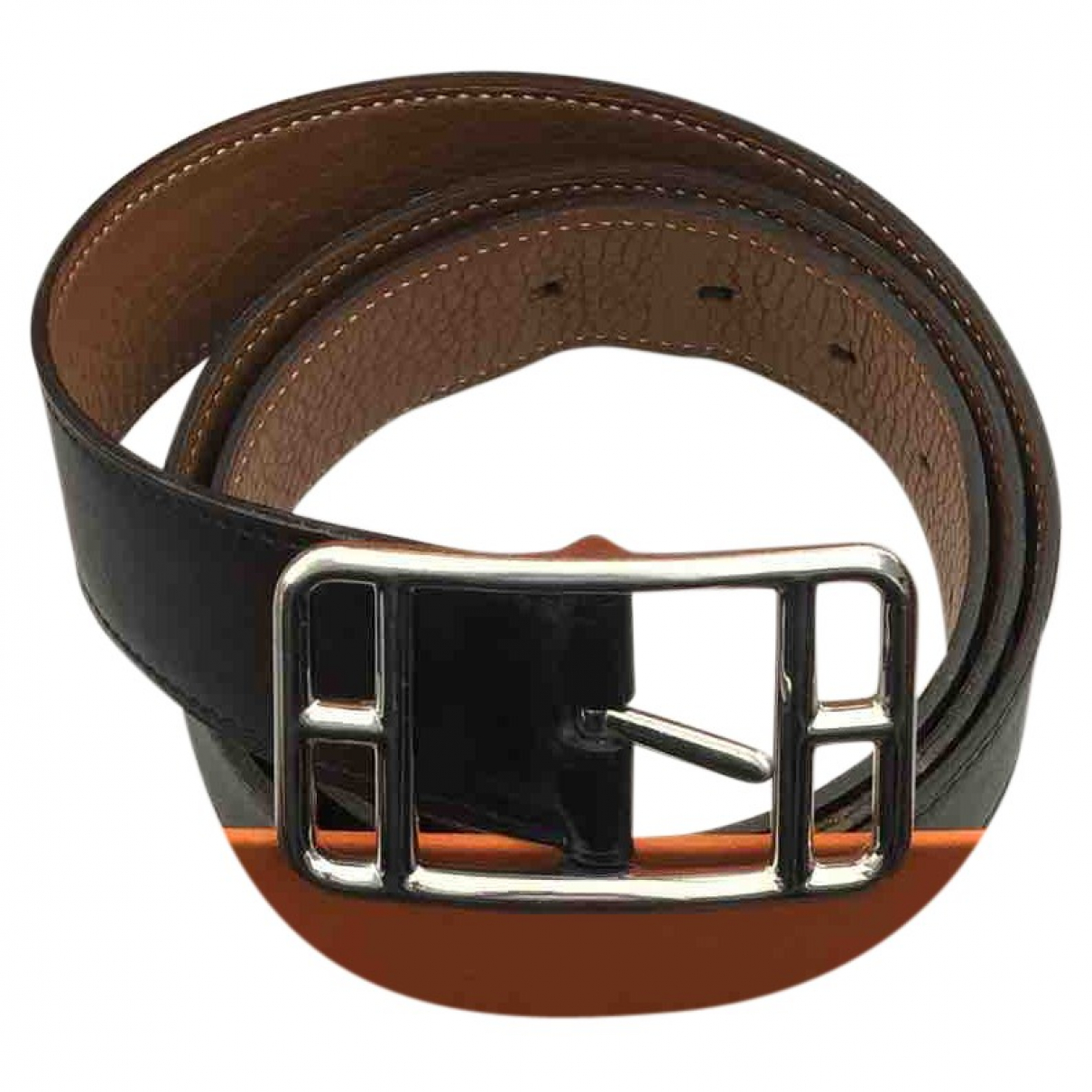 Hermès Belt Black Leather belt for Men 90 cm