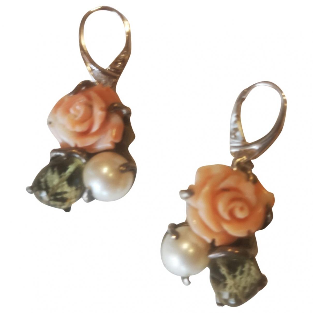 - Boucles doreilles Motifs Floraux pour femme en perles - multicolore