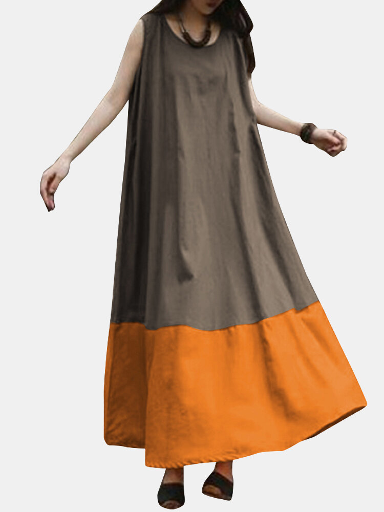 Vintage Solid Color Block Sleeveless Maxi Dress