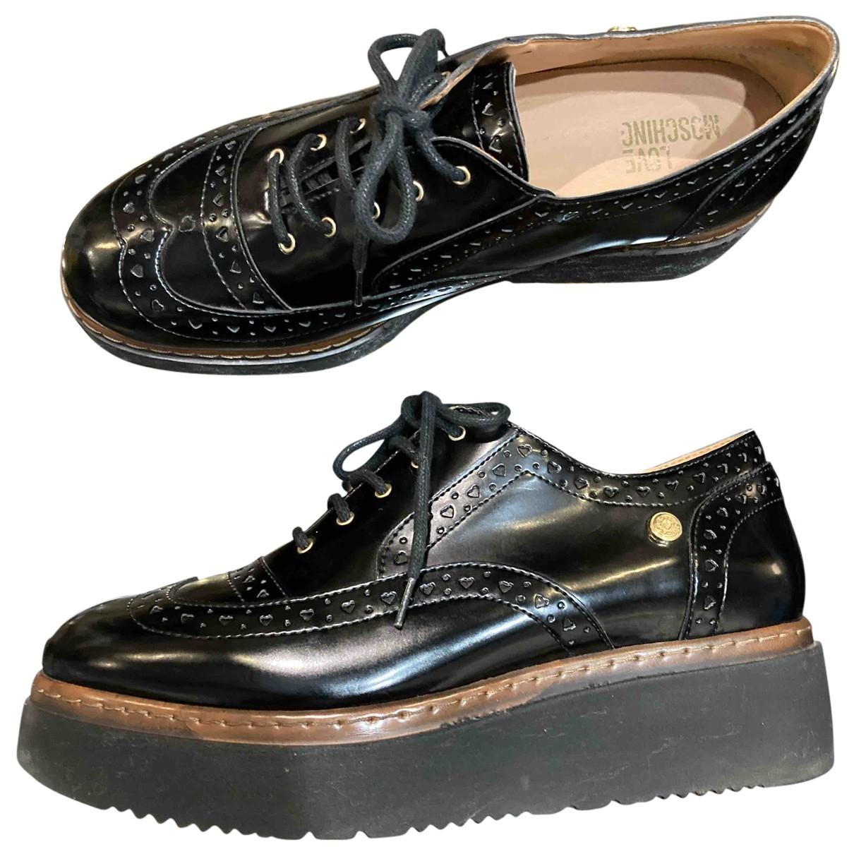 Moschino Love N Black Leather Flats for Women 39 EU