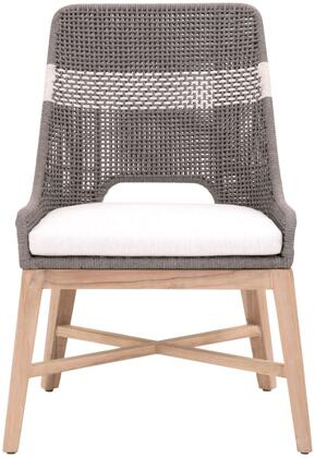 Tapestry 6850.DOV/WHT/GT Outdoor Set Of 2 Dining Chairs  Removable Upholstered Seat in All-Weather Fabric  Interwoven Rope Pattern