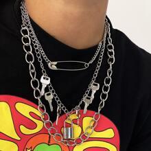 Halskette mit Verschluss & Schluessel Anhaenger und Kette 3 Stuecke