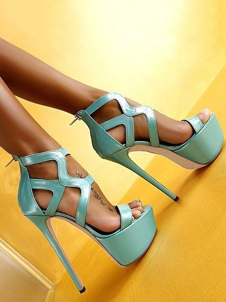 Milanoo Plataforma de sandalias sexy para mujer Punta abierta Recorte Zip Up Sandalias de tacon alto Zapatos