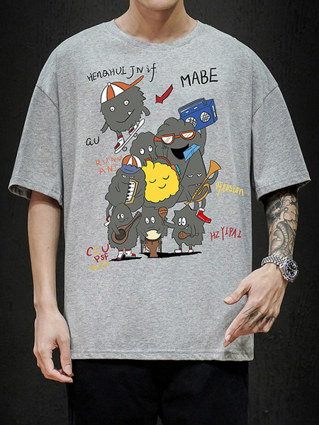 Milanoo T Shirts Loose-fitting T Shirt Featuring A Round Neck Short Sleeves Cartoon Characters Print Oversized Mens Shirt