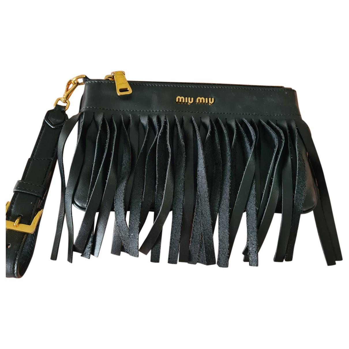 Miu Miu \N Clutch in  Schwarz Leder