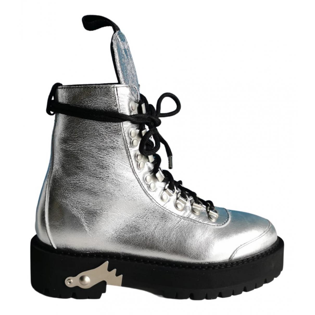 Off-white \N Stiefel in  Silber Leder