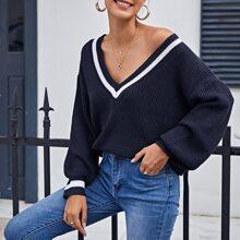 Pullover mit V Kragen, Streifen und sehr tief angesetzter Schulterpartie