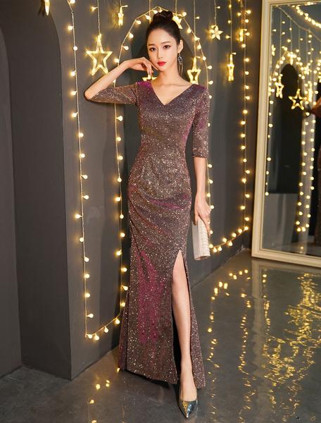 Milanoo Sequin Evening Dresses Half Sleeve V Neck Sexy Prom Dress