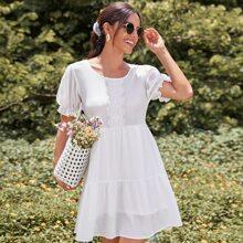 Contrast Guipure Lace Smock Dress