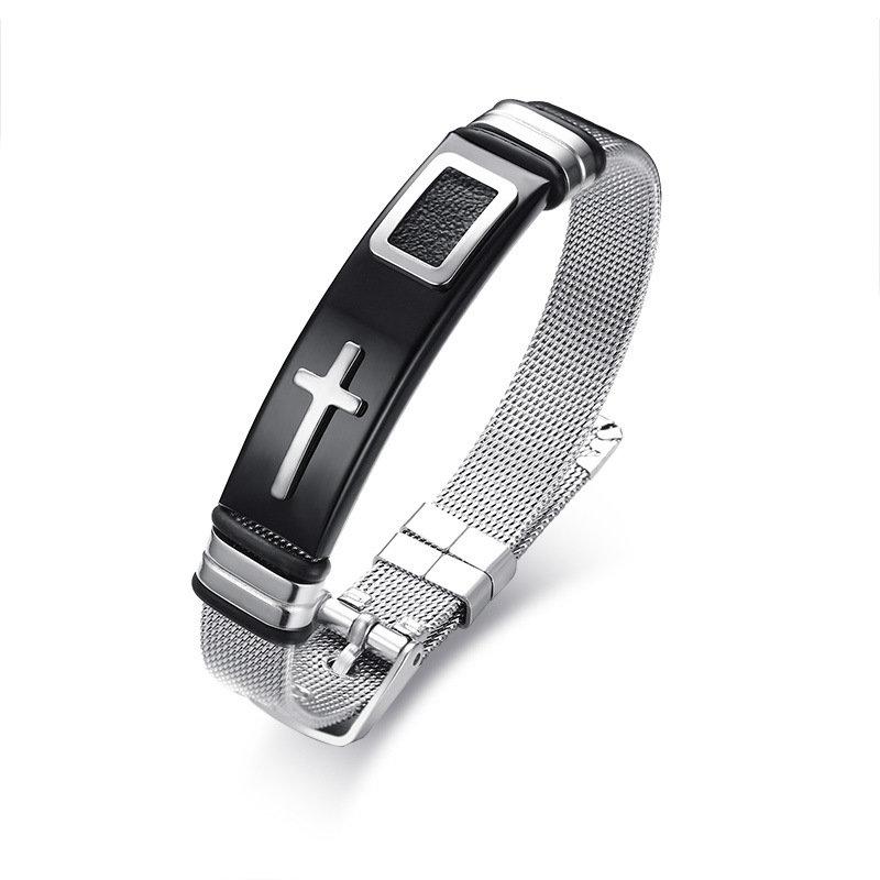 12mm Mens Bracelets Punk Stainless Steel Chain Cross Adjustable Wristband Bracelet Gift for Men