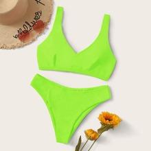 Neon Green Lace-up Back Bikini Swimsuit