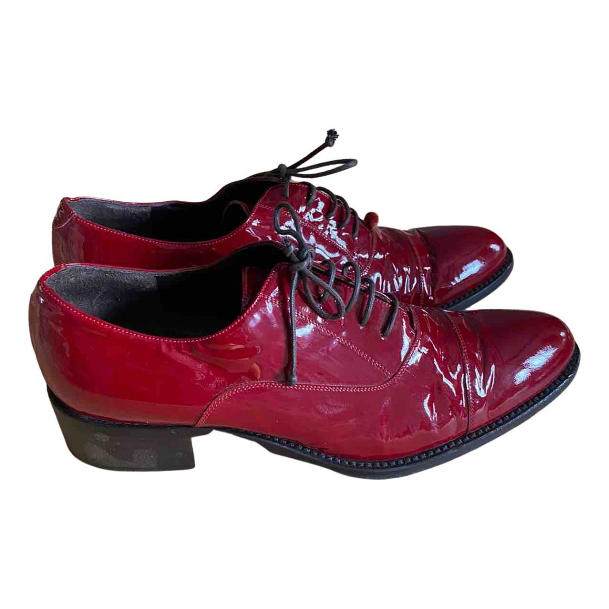 Non Signé / Unsigned \N Red Patent leather Lace ups for Women 40 IT