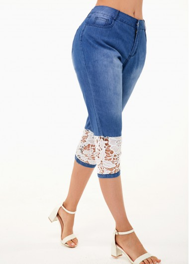 Denim Blue Lace Panel Contrast Design Jeans - XS
