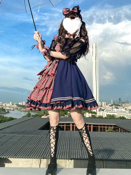 Milanoo Idol Declaration Lolita JSK Dress Two Tone Plaid Lolita Jumper Skirts