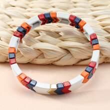 Armband mit Farbblock und Perlen
