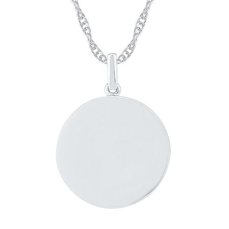 Womens 10K White Gold Round Pendant Necklace, One Size , No Color Family