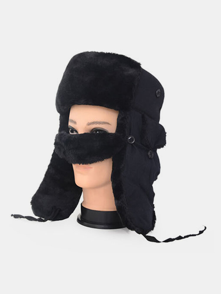 Men Cold-proof Winter Trapper Hat Cotton Thick Winter Hat Ear Protection With Mask Trapper Hat
